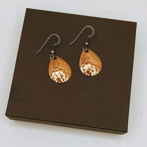 Hammered copper colored earrings